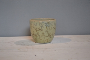 Cream Tree Glazed Ceramic Pot