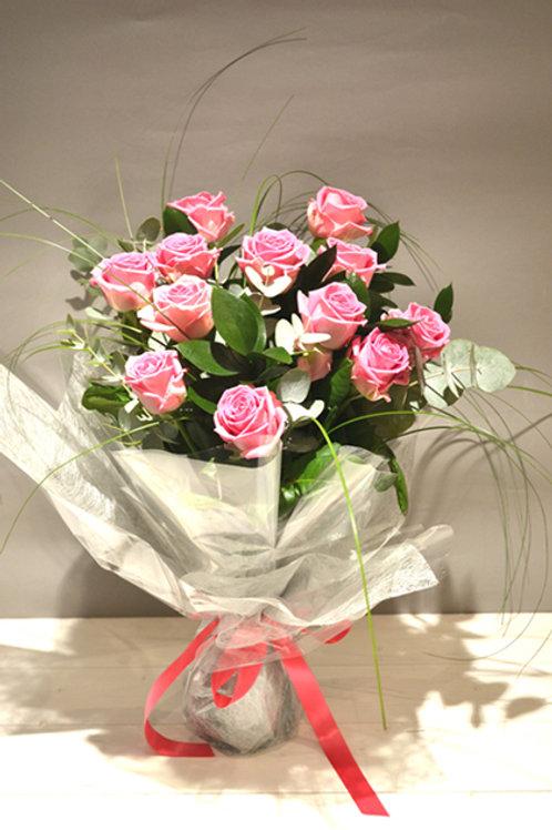A Velvety Rose Bouquet - A Dozen Coloured Roses - online flowers