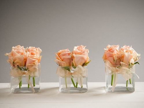 3 x Small Cube Vases with domes of roses