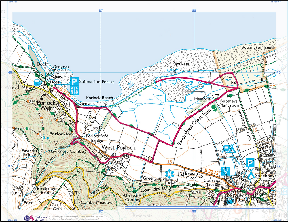 Map of Porlock Weir round route