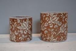 Brown Leaf Glazed Ceramic Pot