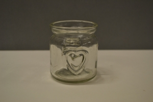 Clear Glass Votive with a Heart
