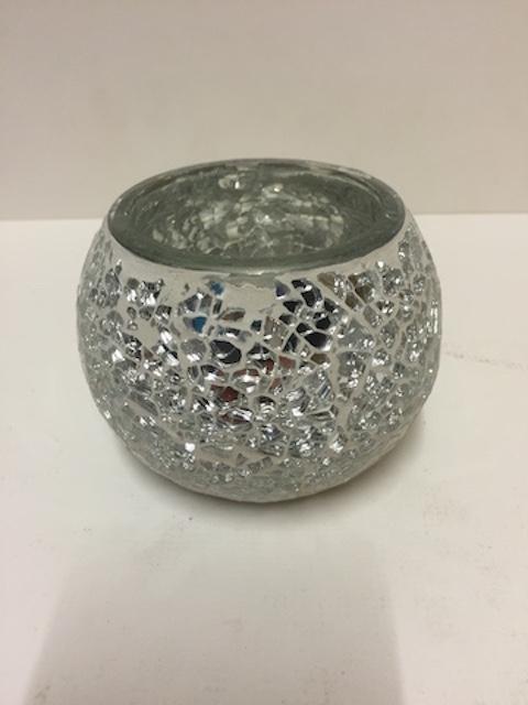 Silver Mosaic Mirrored Pot