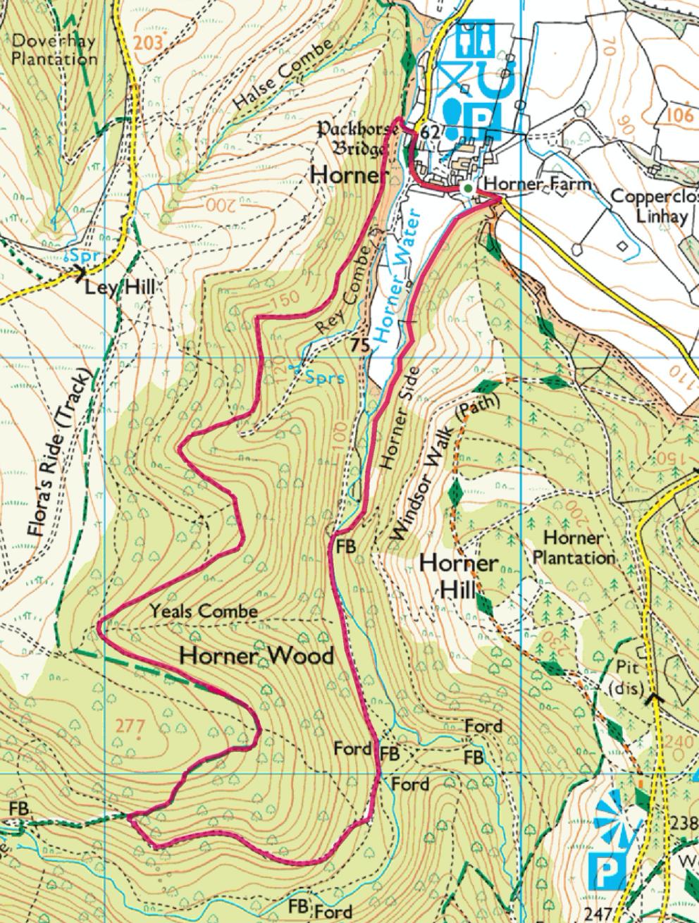 Ordnance Survey map around Horner in Somerset