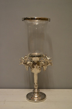 Hurricane Lamp with Antlers 60cm