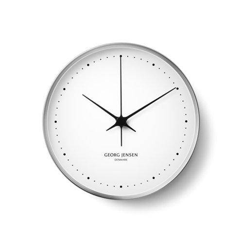 Georg Jensen Henning Koppel Stainless Steel and White Clock - 30cm