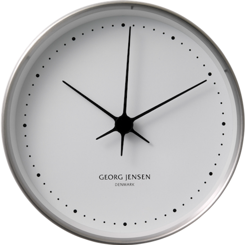 Georg Jensen Henning Koppel 22cm Wall Clock - Stainless Steel with White Dial