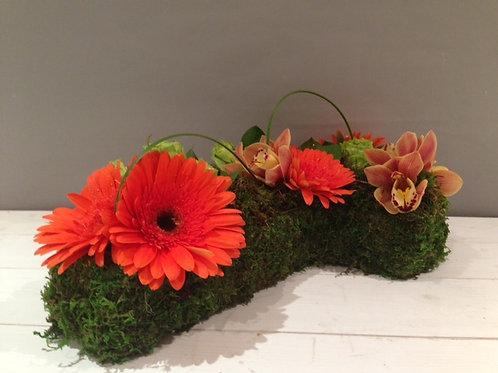 Green Moss Cross Sympathy Flowers - funeral flowers
