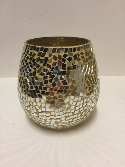 Yellow Mosaic Mirrored Pot