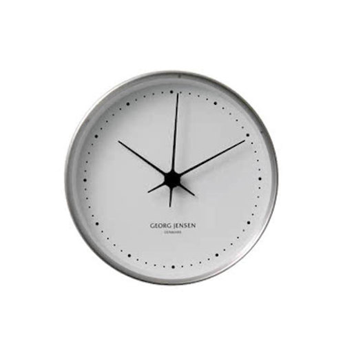 Georg Jensen Henning Koppel Wall Clock - Stainless Steel with White Dial - 10cm