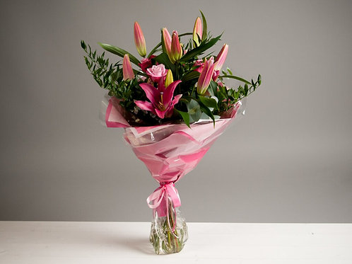 Pink Oriental Lilies and roses Bouquet