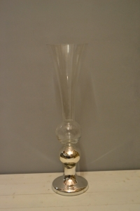 Silver and Clear Glass Horn Vase