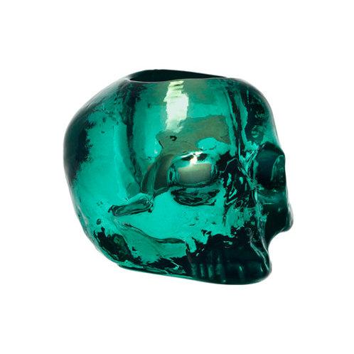 Kosta Boda Still Life Skull Votive - Green