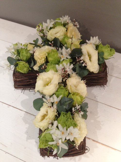 Natural Twig Cross Sympathy Arrangement - funeral flowers