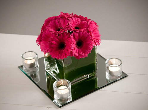 Dome of Gerbera in a Cube Vase with Mirror & Votives