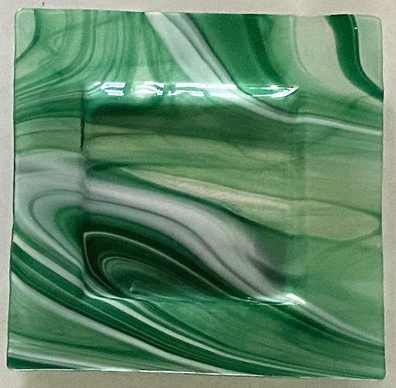 Green White Glass Plate