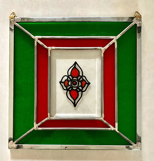Red and Green Stained Glass Panel