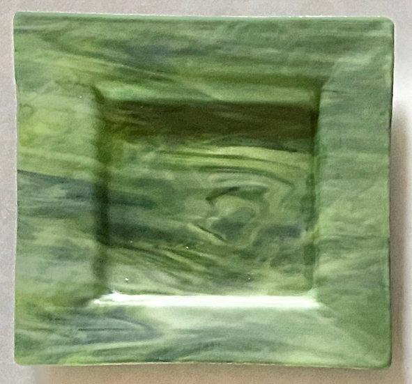 Swirled Green Glass Plate