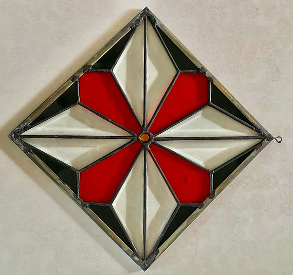 Red and Yellow Stained Glass Panel