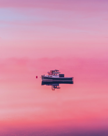 Lobster Boat at Sunset- Harpswell, ME.