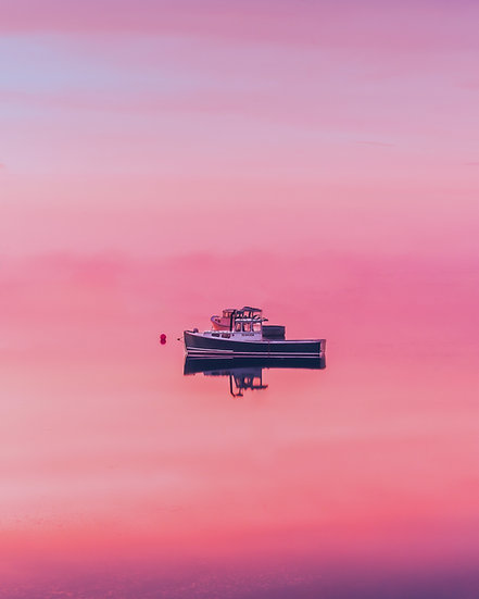 Lobster Boat at Sunset - Harpswell ME