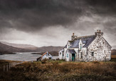 COLOUR - Cottage and Outhouse, Lewis by Maurice O'Flaherty (11 marks)
