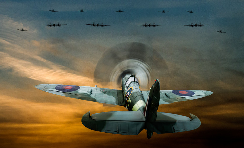 COLOUR - Reach for the Skies - The Story of Douglas Bader - Paul Brickhill by Ken Barrett (11 marks)