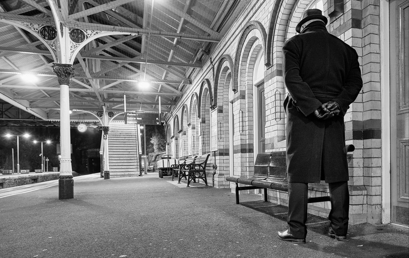 MONO - The Railway Station Man - Jennifer Johnston   by Damian McDonald ARPS (9 marks)