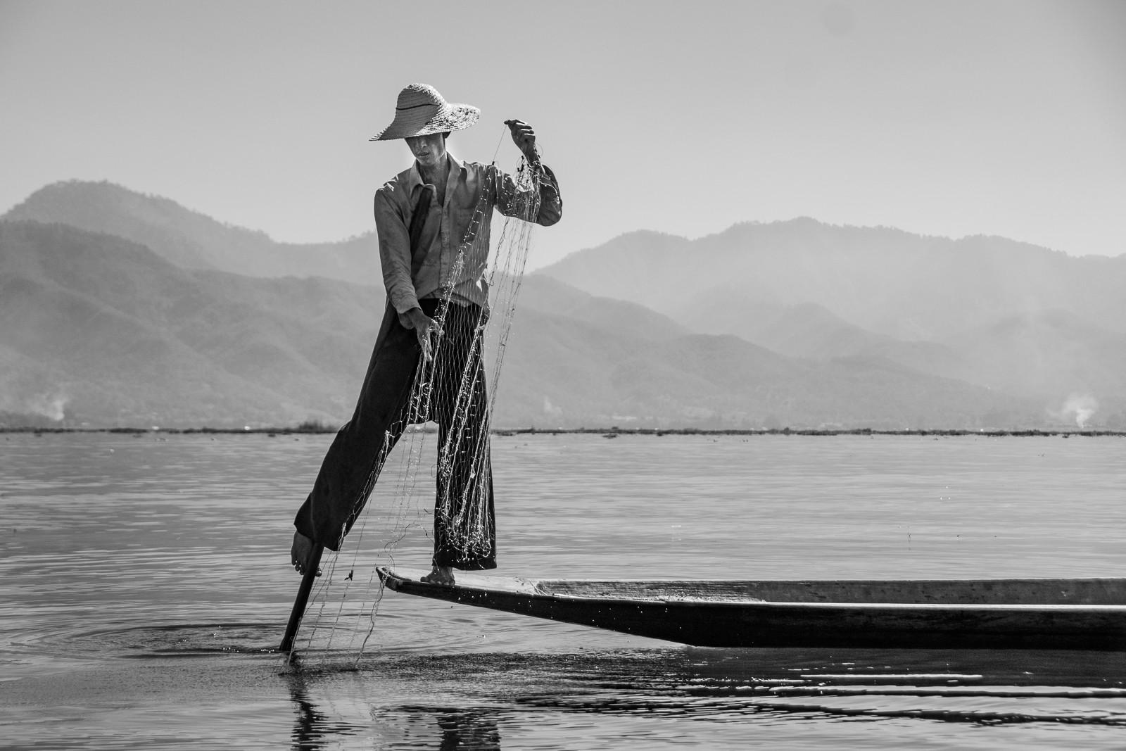 MONO - Inle Fisherman by Elsie Fairley (9 marks)