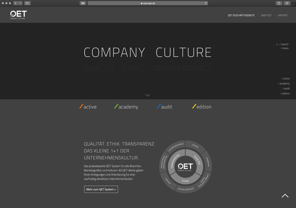 Website für Management System QET entwickelt
