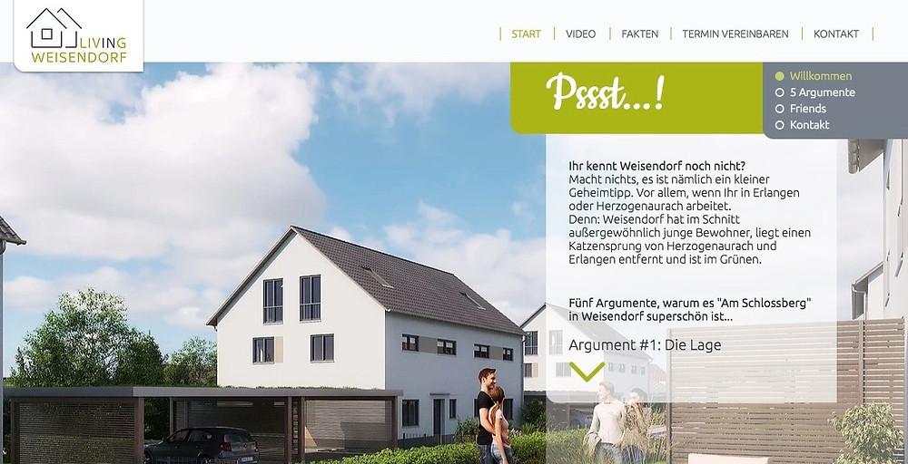 Projektwebsite www.living-weisendorf.de für die EcoLoft Gruppe
