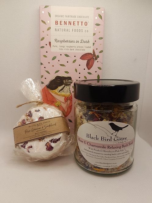 Blackbird Bath Salts, Bath Bomb and Bennetto Chocolate