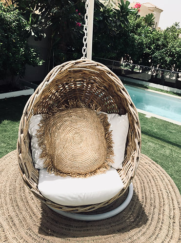 Round Sea Grass Raffia Fringed Cushion Covers