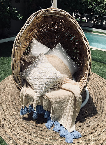 Natural Hand Woven Throw With Blue Tassels