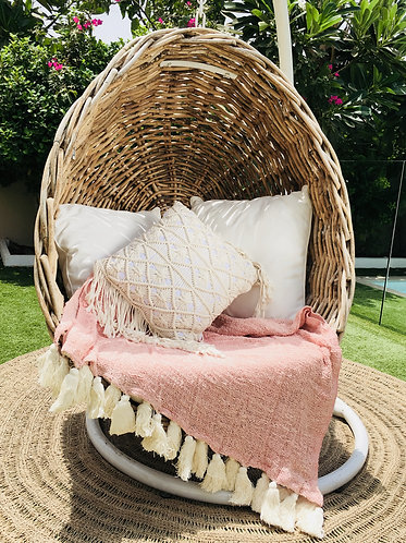 Perfectly Pink Hand Woven Throw with Natural Tassels
