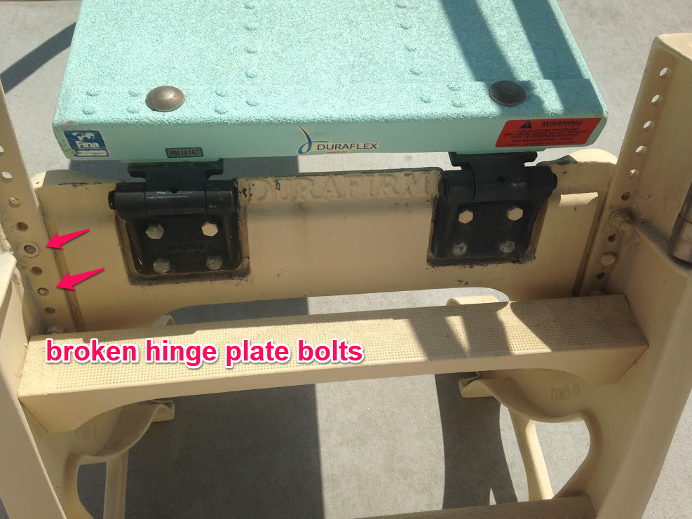 broken hinge plate bolts