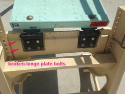 broken hinge plate bolts