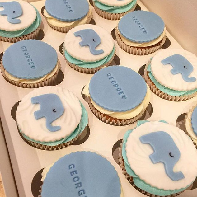 Blue and white baby shower cupcakes stil