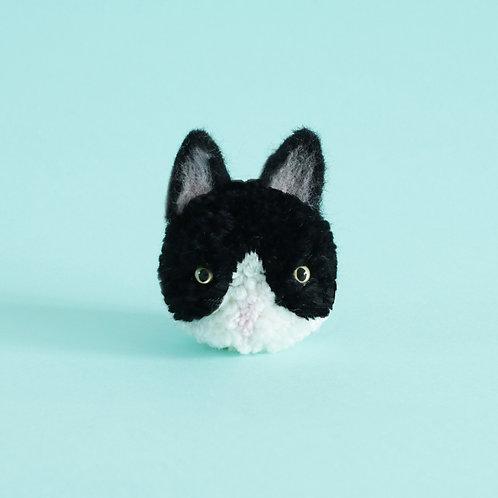 Handmade cat pom pom key chain-black