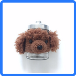 Crocheted poodle Jar holder with Jar