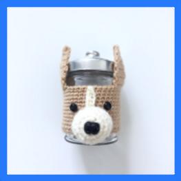 Crocheted Corgi Jar holder with Jar