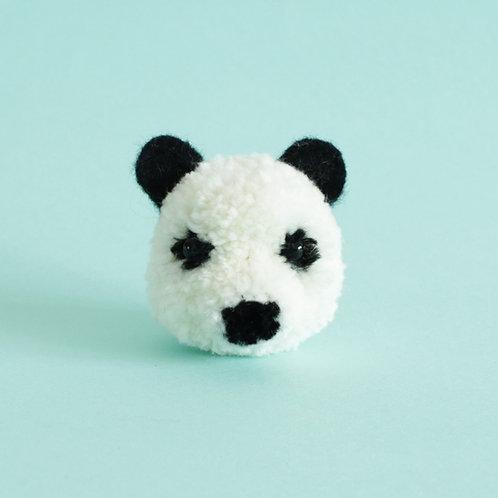 Handmade panda pom pom key chain
