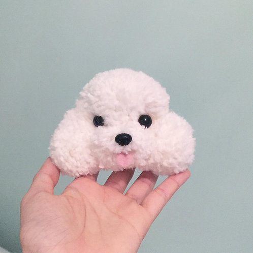Handmade poodle pom pom key chain