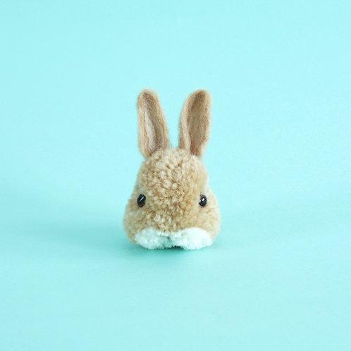 Handmade bunny pom pom key chain - beige