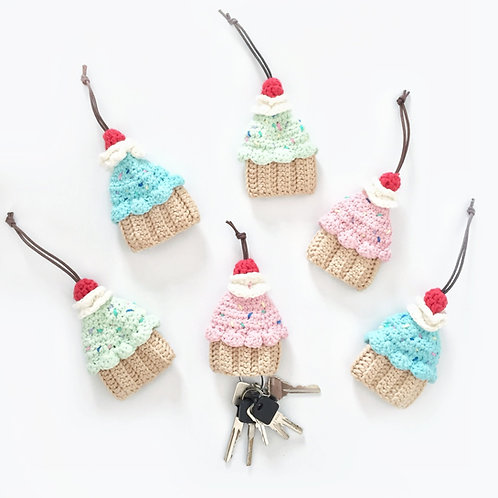 Crocheted Cupcake Key Holder