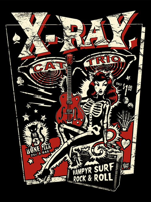 Vince Ray 'X Ray Cat Trio' A3 Art Print
