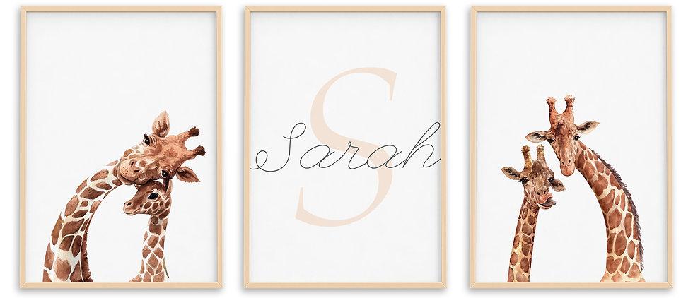Personalised Giraffe Nursery Print Set of 3