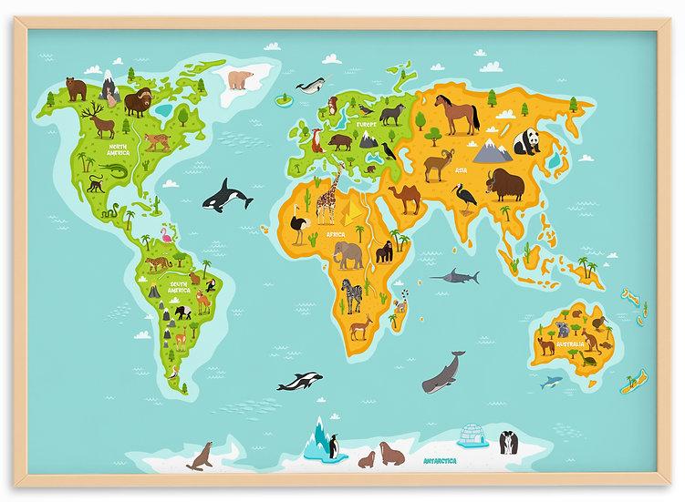 World Map With Animals Print