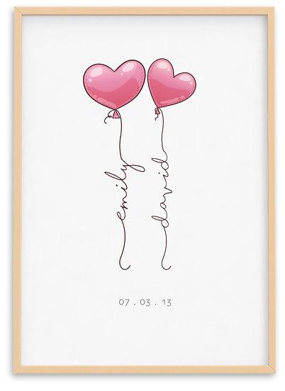 Personalised Balloon Hearts Print