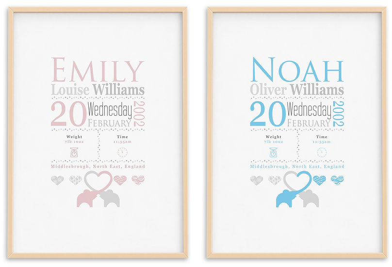 Personalised New Baby Birth Print